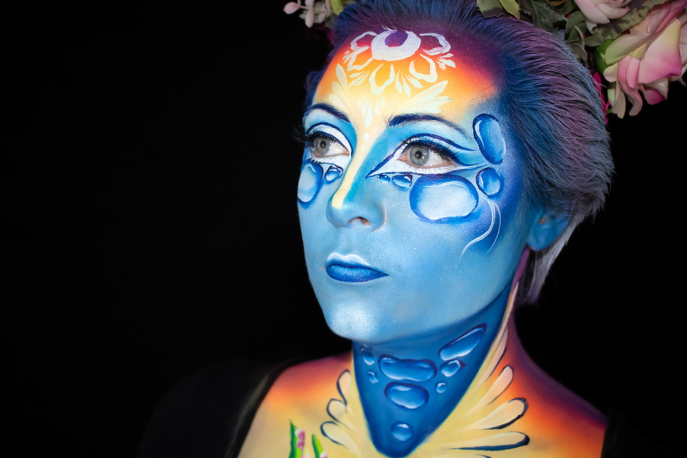 Competition entry for The World Body Painting Festival 2020 Face Painting Competition. Theme: Wonders of Nature. Concept: The Water Cycle