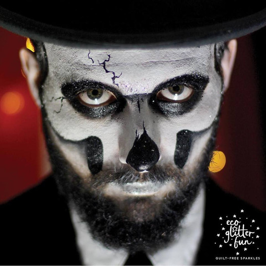 Adult Skull Face Paint and Bio Glitter