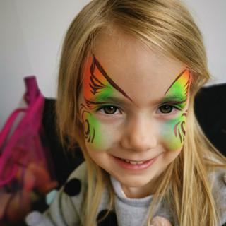 Rainbow butterfly face paint
