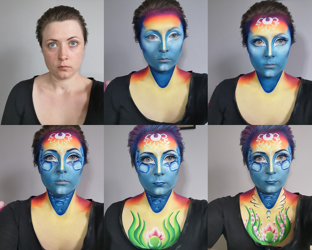Competition entry for The World Body Painting Festival 2020 Face Painting Competition. Theme: Wonders of Nature. Concept: The Water Cycle. Images of the Process