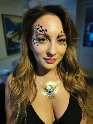 Zoo project animal print inspired Adult Face Paint and Glitter