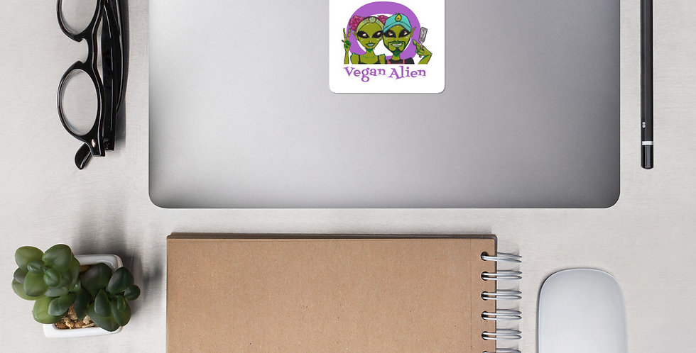 Vegan Alien Bubble-Free Stickers