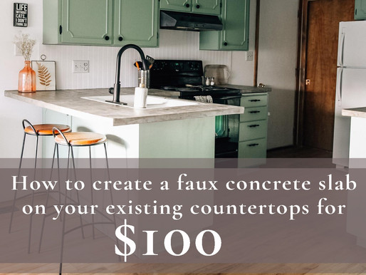 How to create a faux concrete slab over your existing counter tops for $100 dollars!