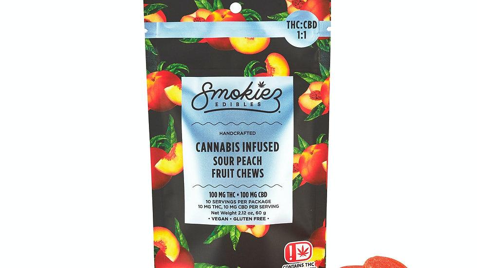 Smokiez - Sour Peach 1:1 100mg THC/100mgCBD