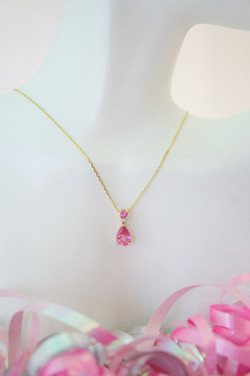 Pink Topaz & Diamond Pendant 14KT Y_G
