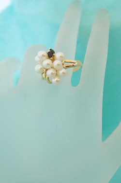 Pearl, Sapphire & Diamond Ring 14KT Y_G