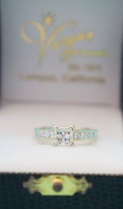 Estate Princess Cut Diamond Engagement Ring 1.CT Center 14KT Y_G