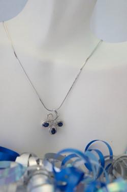 Blue Sapphire & Diamond Pendant 14KT W_G