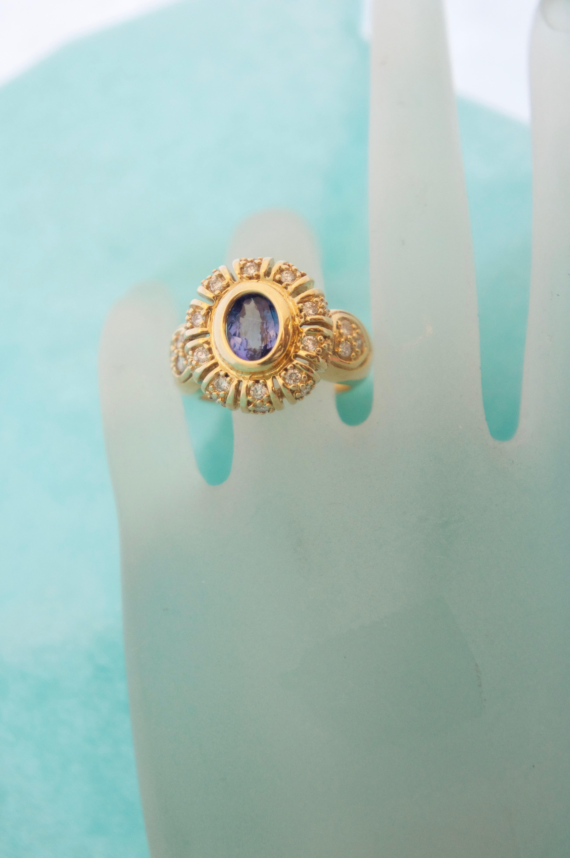 Estate Tanzanite & Diamond Ring 14KT Y_G