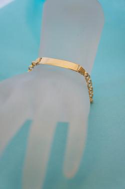 ID Bracelet Open Link Adjustable Size 18KT Y_G