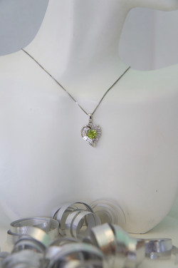 Heart Shape Peridot & Diamond Pendant 14KT W_G