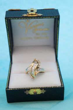 Fashion Diamond Ring Baguettes & Round Stones 14KT Y_G