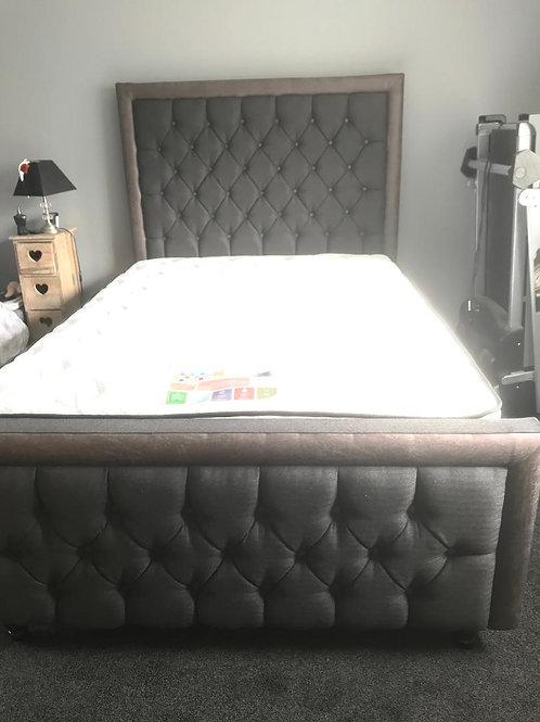 Grand Sandringham Bedframe Tweed/Leather Mix