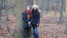 WECAN's Communications Coordinator and Executive Director recording stories during a delegation to the Hambach Forest, Germany