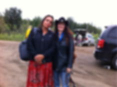 Osprey Orielle Lake of WECAN International at the 2013 Tar Sands Healing Walk with Winona LaDuke of Honor the Earth (right)  and Crystal Lameman of the Beaver Lake Cree Nation (left)