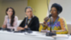Neema Namadamu, WECAN DRC Regional Coordinator, speaks during the UN COP21 climate negotiations in Paris, France – Photo via Emily Arasim