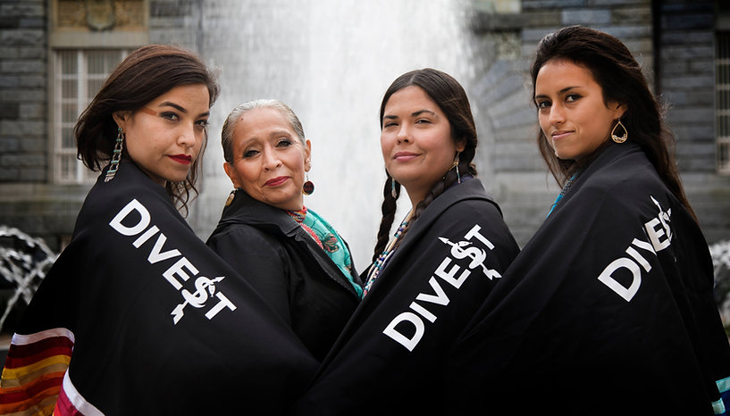 Indigenous Women's Divestment Delegation To Europe, Autumn 2017 (left to right): Michelle Cook (Diné/Navajo), LaDonna Brave Bull Allard ( Standing Rock Sioux Lakota), Tara Houska (Anishinaabe), and Jackie Fielder (Mnicoujou Lakota and Mandan-Hidatsa) in Norway - Photo via Teena Pugliese