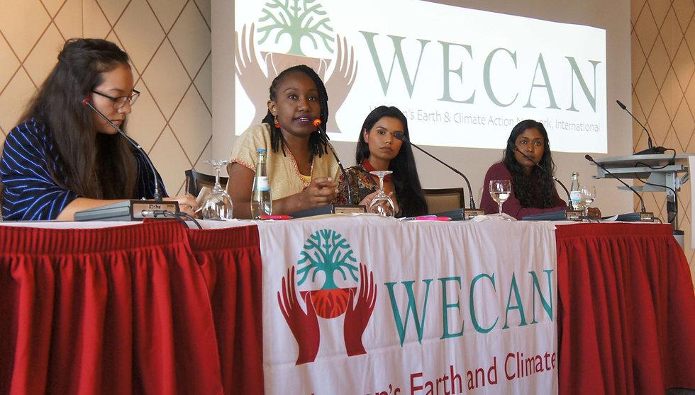 Isabella Zizi (US), Ruth Nyambura (Kenya), Nina Gualinga (Ecuador) and Thilmeeza Hussain (Maldives), during WECAN International's public event in parallel to COP23 - Photo via Emily Arasim/WECAN International