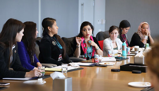 Michelle Cook speaks out during a meeting in NYC - Photo via Teena Pugliese