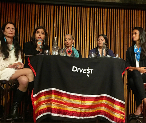 Indigenous Women's Divestment Delegation representatives and allies outside of Credit Suisse on Indigenous People's Day, following a delegation meeting with the bank.