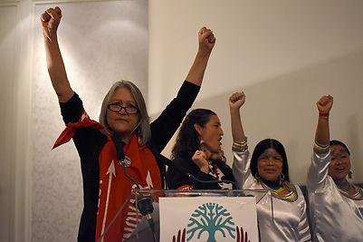 Pennie Opal Plant (U.S) alongside women leaders of Ecuador during WECAN's public event at COP21 Paris