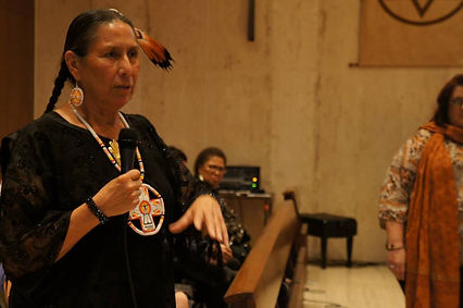 Casey Camp Horinek, Ponca Nation Leader (Oklahoma), and member of the WECAN International Advisory Council and U.S. Steering Committee - speaking during a Rights of Nature event in New York City