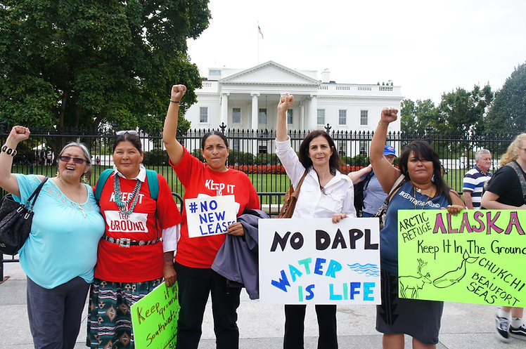 Indigenous women leaders from across the US take action outside the White House to #KeepItInTheGround, also pictured, WECAN Executive Director - Photo via Emily Arasim/WECAN International