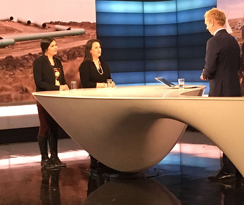 Tara Houska and Dr. Sara Jumping Eagle on national television in Norway speaking out for divestment