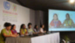 WECAN COP22 press conference speakers (left to right):  Carmen Capriles (Bolivia); Marta Ventura (Guatemala); Ruth Nyambura (Kenya);  Neema Namadamu (DRC); Thilmeeza Hussain (Maldives); and Osprey Orielle Lake (USA)