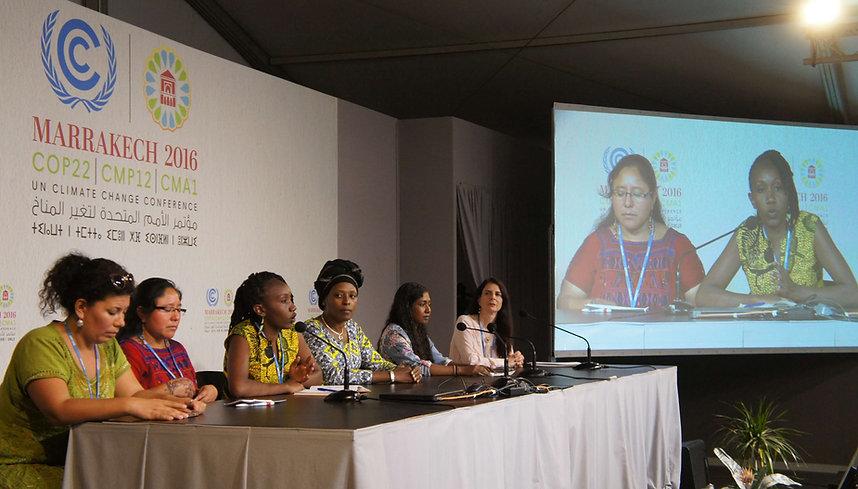 WECAN COP22 press conference speakers (left to right):  Carmen Capriles (Bolivia); Marta Ventura (Guatemala); Ruth Nyambura (Kenya);  Neema Namadamu (DRC); Thilmeeza Hussain (Maldives); and Osprey Orielle Lake (USA)