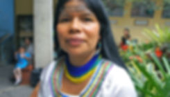 Patricia Gualinga of Sarayaku, Ecuador, following a march of Amazonian Indigenous women against extraction - Photo via Emily Arasim/WECAN International