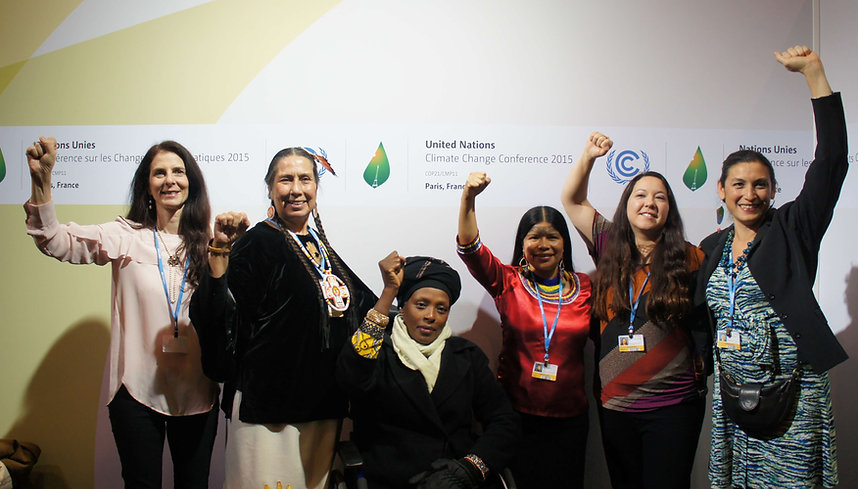 Global women leaders gathered after a WECAN COP21 side event - (right to left) - Leila Salazar Lopez, Kandi Mossett, Patricia Gualinga, Neema Namadamu, Casey Camp Horinek, and Osprey Orielle Lake - Photo via Emily Arasim/WECAN International