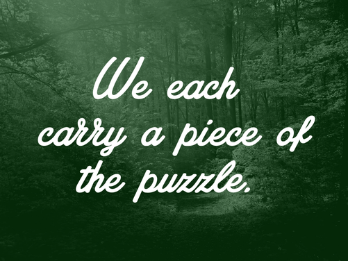 WE EACH CARY A PIECE OF THE PUZZLE