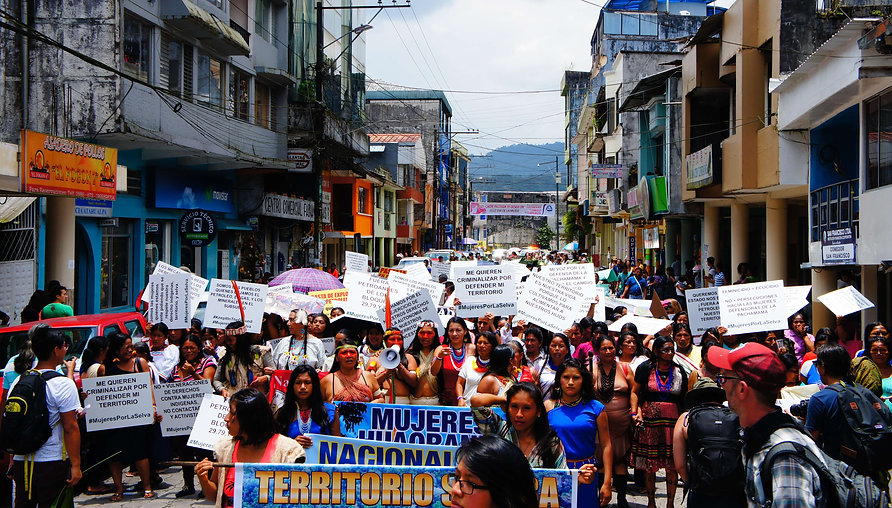 More than 500 women leaders from across the Ecuadorian Amazon stand for the rights of their communities and the Earth in Puyo, Ecuador on International Women's Day 2016 – Photo by Emily Arasim