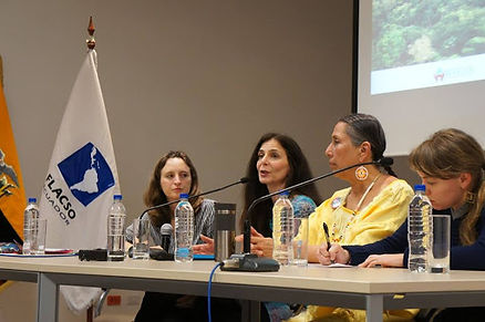 Natalia Green, Osprey Orielle Lake and Casey Camp Horinek present on the importance of women land defenders during an event at FLASCO University in Quito, Ecuador – Photo by Emily Arasim