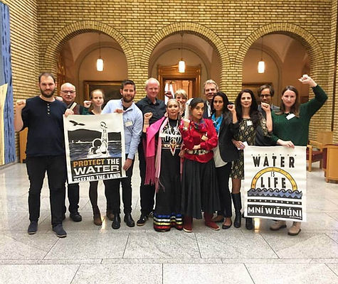 Spring 2017 Indigenous Women's Divestment Delegation with members of the Norwegian Parliament