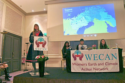Josefina Skerk (Sami) shares her story as an Indigenous woman of Europe during WECAN's public event at COP21 Paris