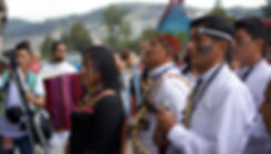 Mirian Cisneros, President of the Pueblo of Sarayaku, leads a Kawsak Sacha launch event in Quito - Photo via Sophie Pinchetti/WECAN International