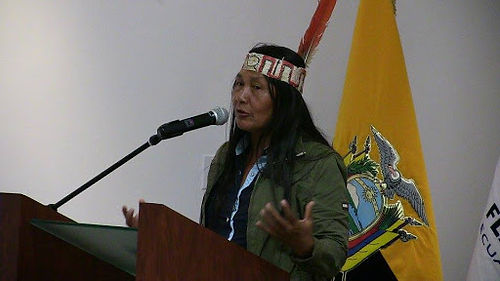 Gloria Ushigua, President of the Association of Sapara Women, speaks on threats to the forest and her community during a 2016 WECAN/Terra Mater event at FLASCO University, Quito, Ecuador