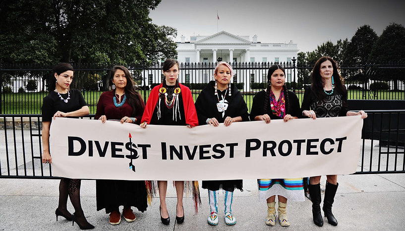 Autumn 2018 Indigenous Women's Divestment Delegation members outside of the White House in Washington D.C.  - Photo via Teena Pugliese