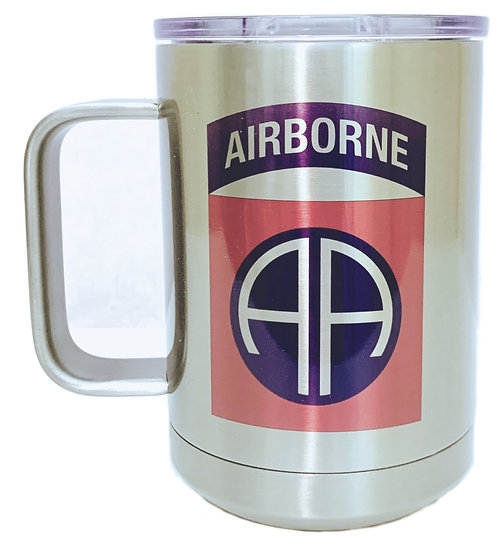 82nd Airborne Sublimatable Stainless Steel 15oz. White Vacuum Insulated Mug w/Sl