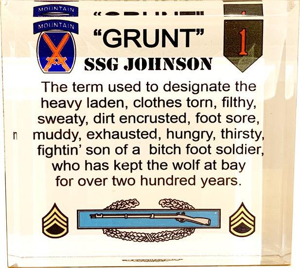 """Grunt"" Acrylic Paper Weight"