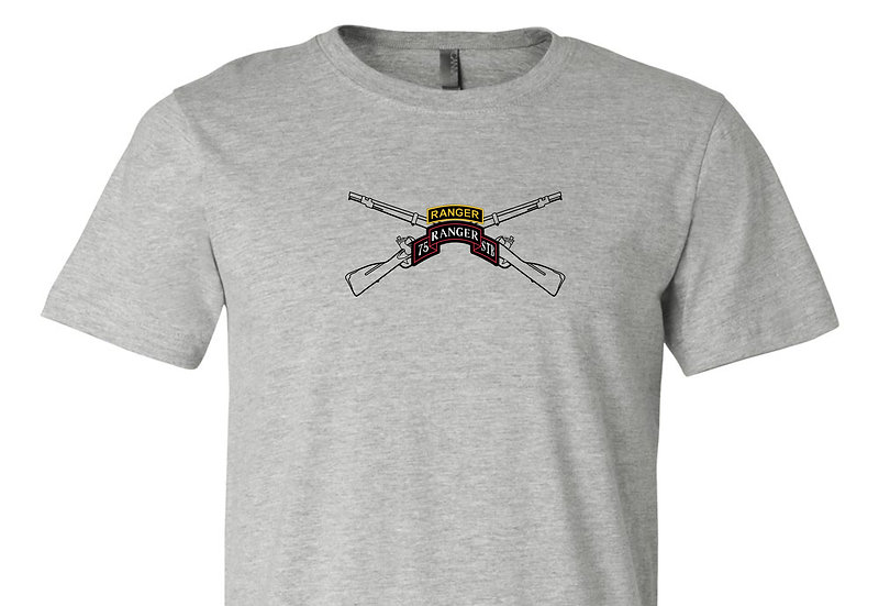Infantry Rifles with 75th Ranger STB Bella + Canvas Soft; Light T-Shirt