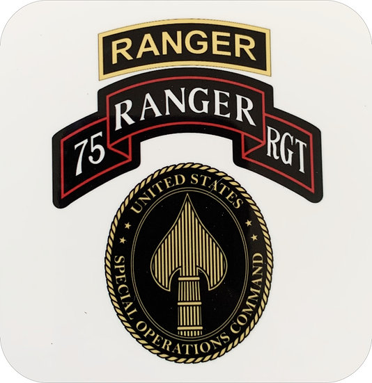 75th Ranger and SOCOM 3.5x3.5 inch Hardboard Square Coaster