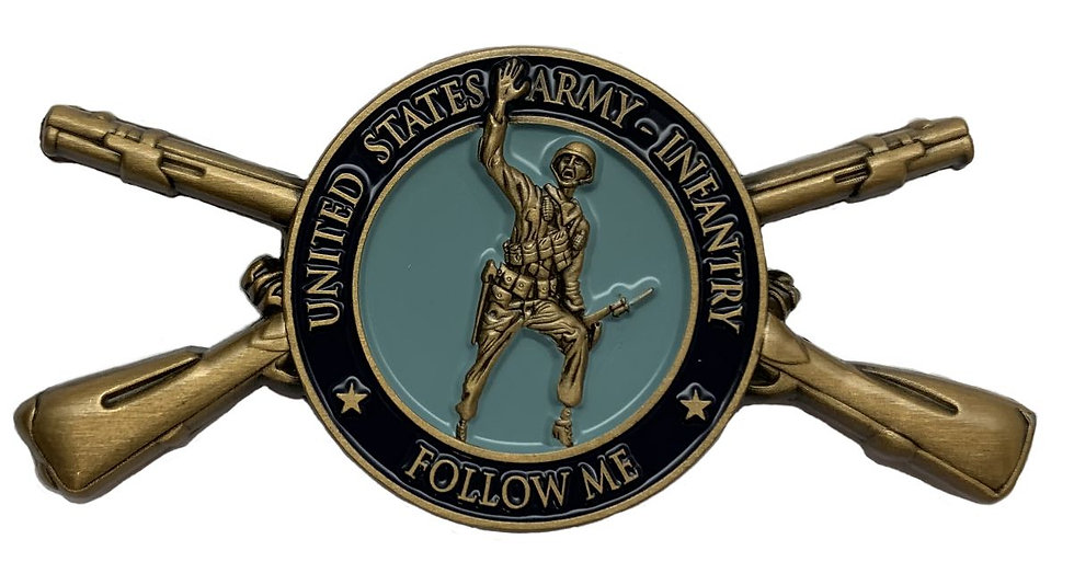 """Infantry Coin """"Follow Me"""" with OSM design on the back"""