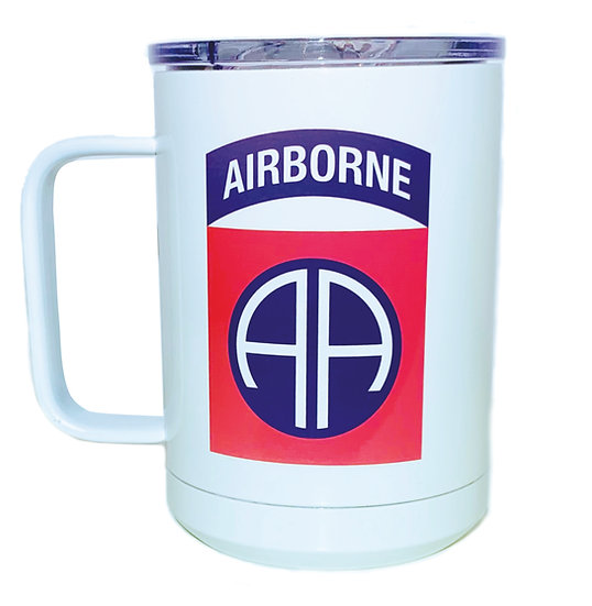 82nd Airborne Sublimatable 15oz. White Vacuum Insulated Mug w/Slider Lid