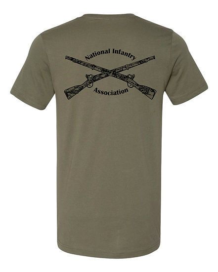 Infantry Rifles, Military Green Heatherd   Bella + Canvas Soft; Light T-Shi