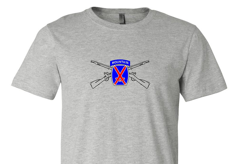 Infantry Rifles with 10th Mountain DIV Bella + Canvas Soft; Light T-Shirt
