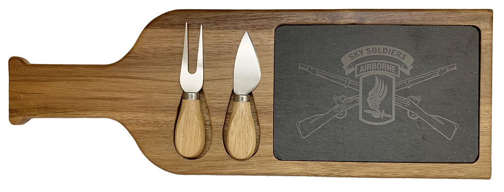 "Sky Soldier 17 1/2"" x 6"" Acacia Wood/Slate Serving Board with Two Tools"