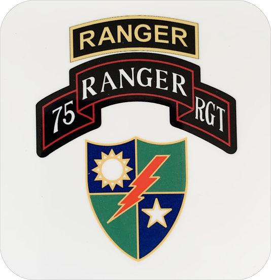 75th Ranger  3.5x3.5 inch Hardboard Square Coaster